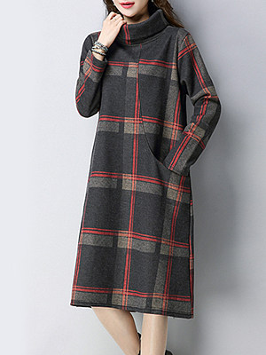 High Neck Patch Pocket Plaid Shift Dress, 10083834