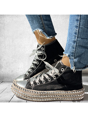 Women's Retro Platform High-Top Canvas Shoes, 10550248