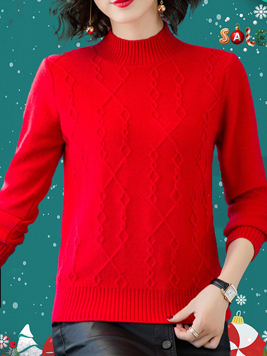 Short High Collar Brief Plain Long Sleeve Knit Pullover - from $23.95