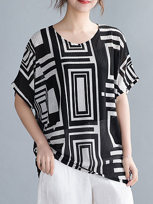 Round Neck Print Sleeve T-shirt, 23704898
