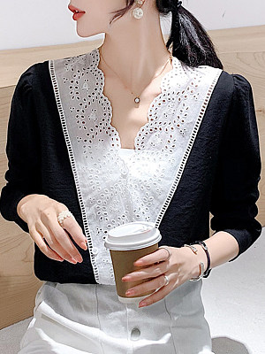 V Neck Patchwork Lace Long Sleeve Blouse, 11225308