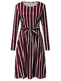 Image of Striped Pocket Long Sleeve Round Neck Dress