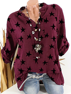 Band Collar Star Print Long Sleeve Blouse, 24610874