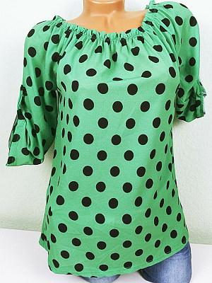 Round Neck Dot Short Sleeve T-shirt, 11286095