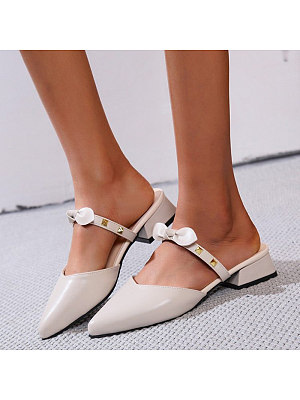 Fashion Pointed Toe Rivet Bow Women Sandals, 10975076