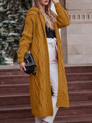 Hat Collar Plain Long Sleeve Knit Cardigan