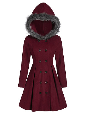Women's casual hooded fur slim double-breasted coat, 10317225