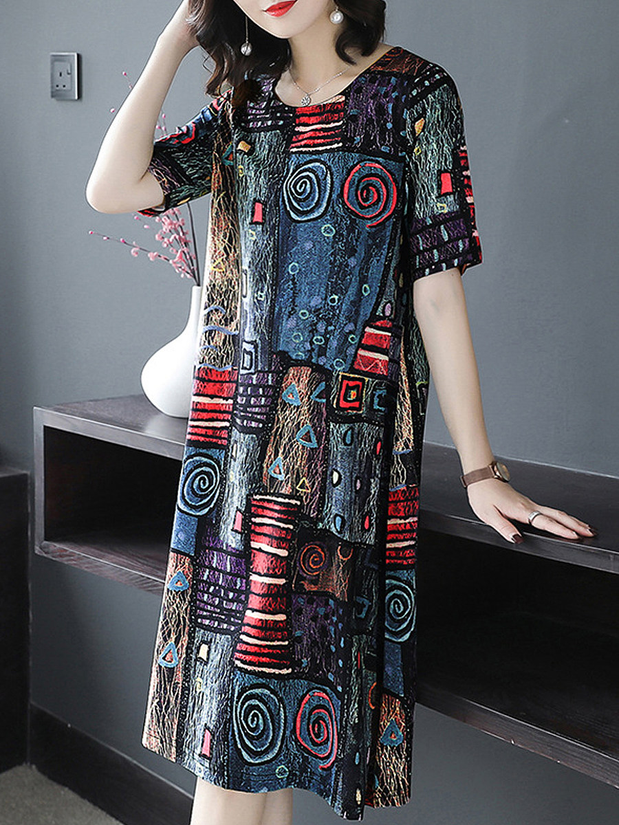 Women's Mid-length Loose Retro Print Dress