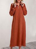 Image of Long Sleeve Solid Color V-neck A-line Dress