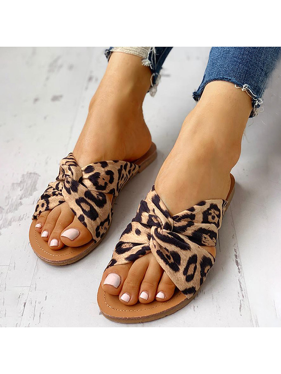 Crossover leopard print women's slippers