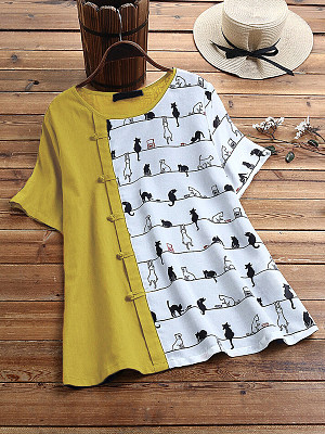 Buy Short sleeve T-shirts sale, clothing stores from Berrylook Apparel & Accessories>Clothing>Shirts & Tops>T-Shirts, Berrylook Round Neck Cat Print Buttons Short Sleeve T-shirt is well made of Cotton and it\\\'s features are: shoulder width:41,bust:100,length:68,sleeve length:24 (in inches). Find best Short sleeve T-shirts at Berrylook.com