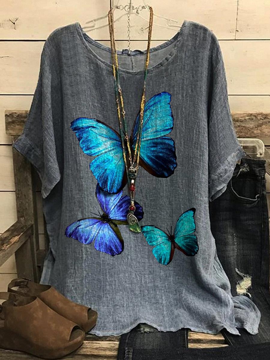 BerryLook Round Neck Butterfly Print Short Sleeve T-shirt