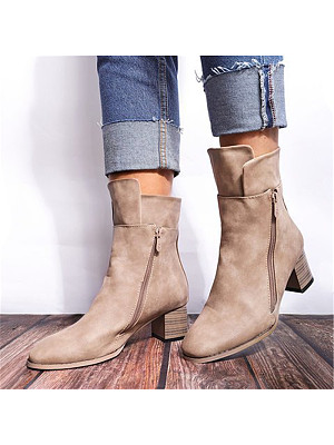 Women's fashion side zipper thick-heel wood grain ankle boots, 10753210