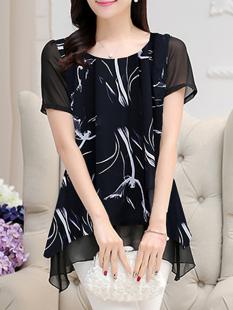 BerryLook Round Neck Fake-two-piece Print Short Sleeve Blouse