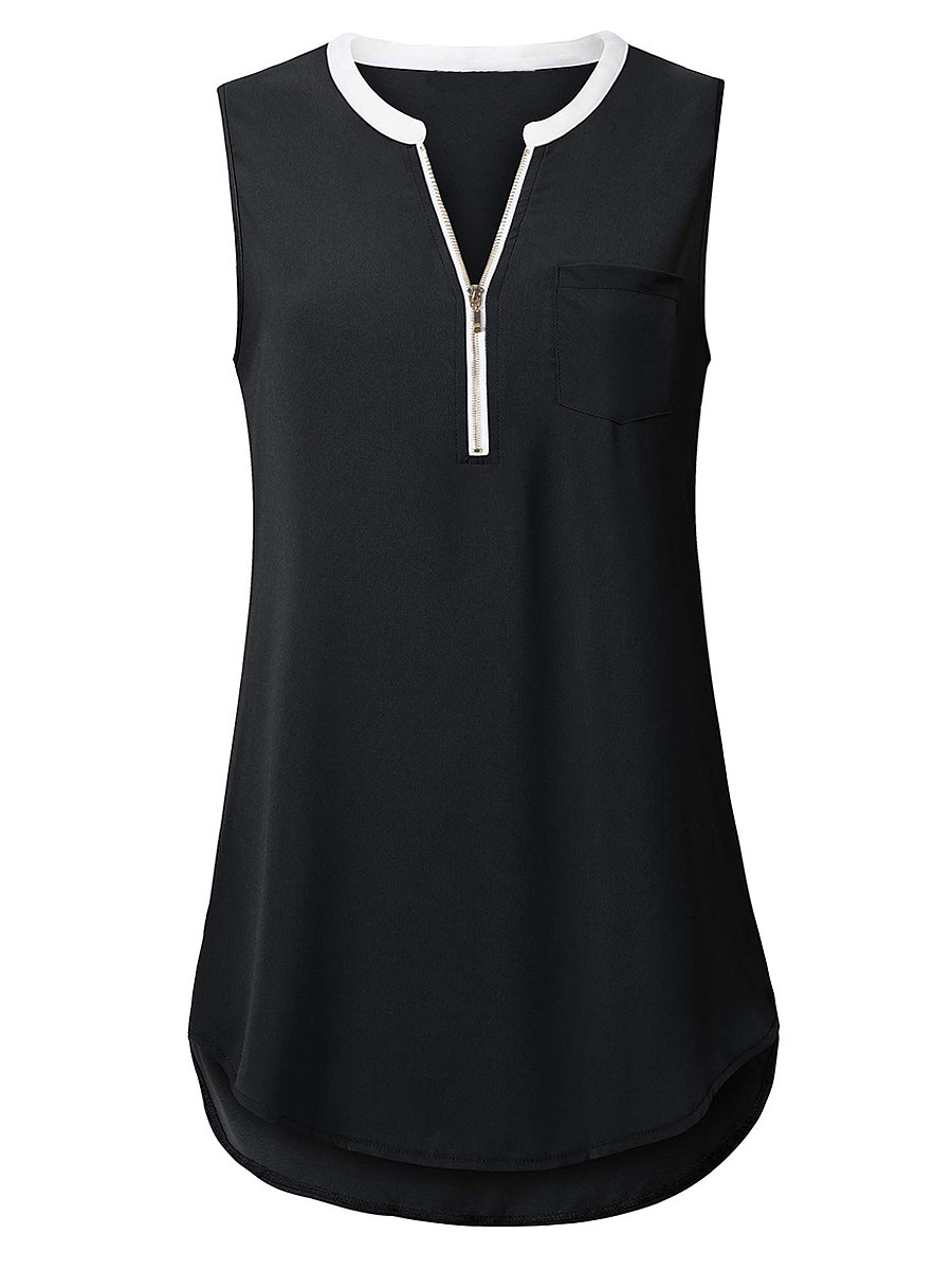 V Neck Zips Sleeveless T-shirt