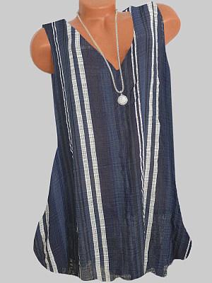 V Neck Striped Sleeveless T-shirt, 23715296