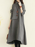 Image of High Collar Irregular Long Sleeve Solid Color Dress