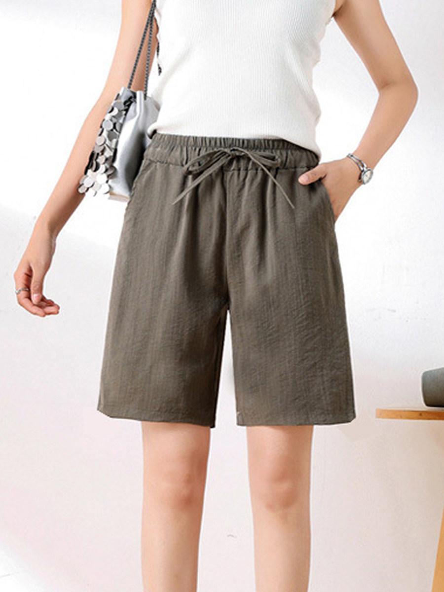 BerryLook Summer high waist cotton and linen wide leg shorts