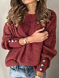 Image of Round Neck Buttons Plain Long Sleeve Pullover