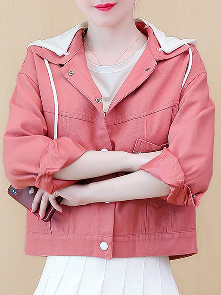 Loose Hooded Long Sleeve Jacket