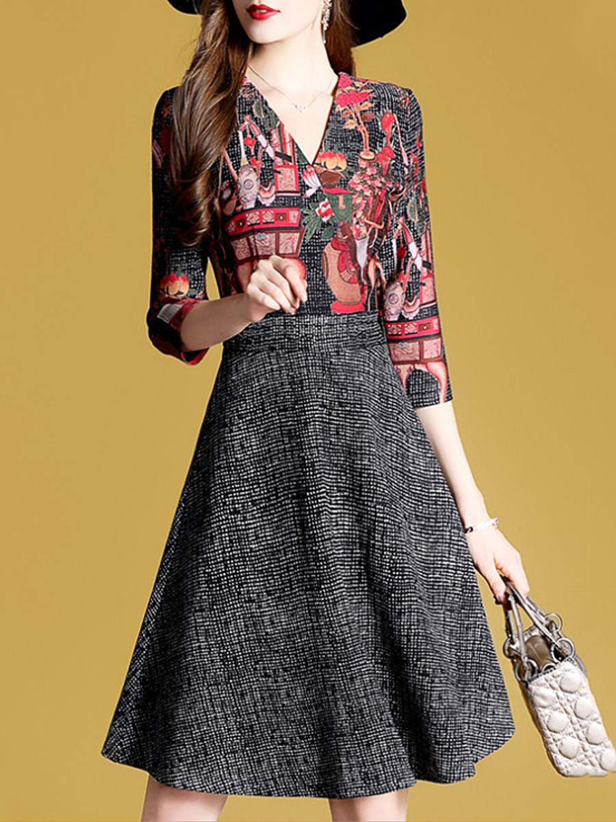 Fashion V-neck colorblock print cropped sleeve dress - from $28.95