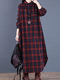 Image of Casual Plaid Long Sleeve Lapel Dress