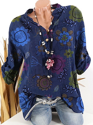 V Neck Loose Fitting Floral Printed Long Sleeve Blouse, 24772055