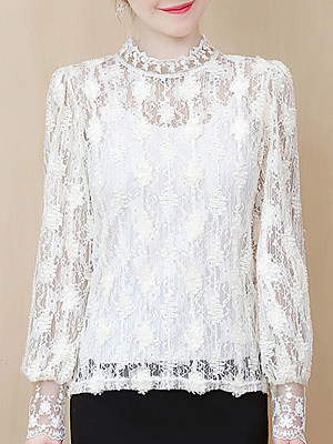 Band Collar See-through Lace Long Sleeve T-shirt, 11211064