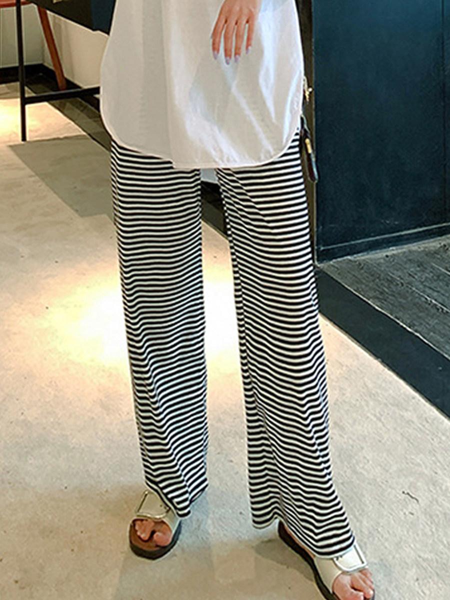 BerryLook High waist loose cotton and linen stripe wide leg pants