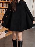 Image of Woolen coat autumn and winter type A skirt cloak woolen coat