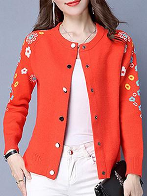 Elegant Floral Long Sleeve Knit Cardigan, 10183543