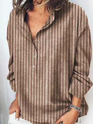 V Neck Striped Long Sleeve Blouse, 24543478