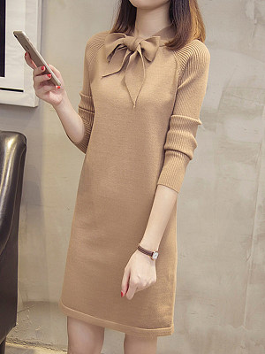Round Neck Plain Shift Dress, 11237193