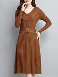 Image of Solid Color V-Neck Knitted Dress