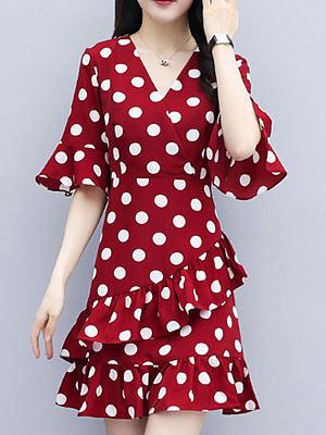 V-neck Ruffled Polka Dot Print Skater Dress