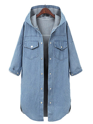 Loose hooded trench coat denim mid-length coat, 25098527