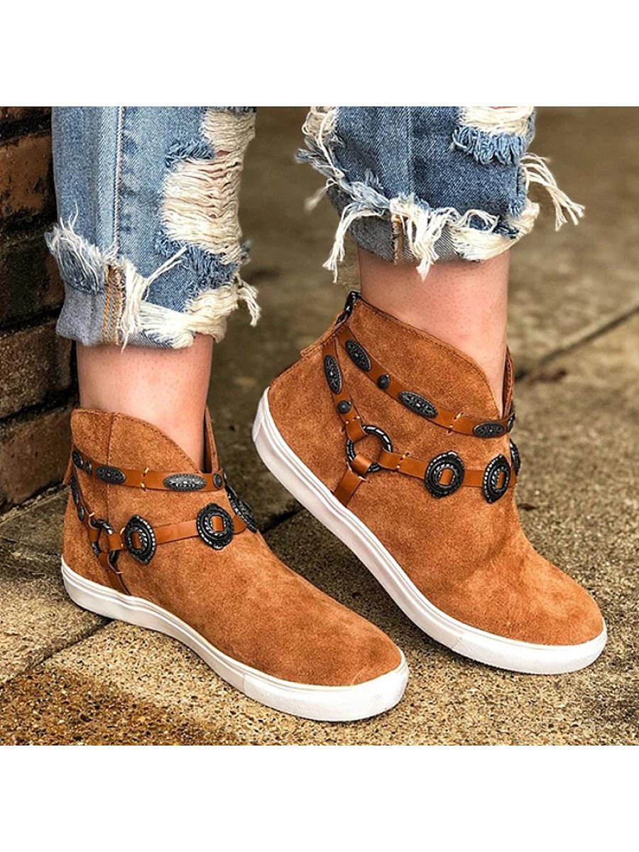 BerryLook Women's casual flat heel belt round buckle sneakers
