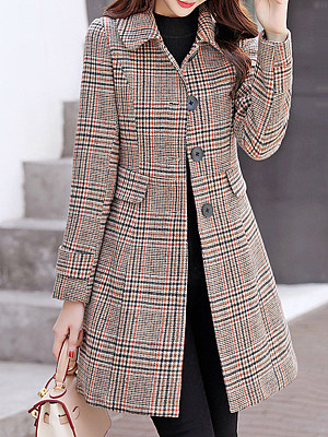 Women's Casual Slim Plaid Coat gender:female, season:autumn,winter,spring, texture:polyester, pattern_type:grid pattern, sleeve_length:long sleeve, sleeve_type:regular sleeve, style:japanese and korean style, collar_type:fold collar, design:single-breasted, dress_occasion:daily, bust:92,clothing length:82,shoulder width:37,