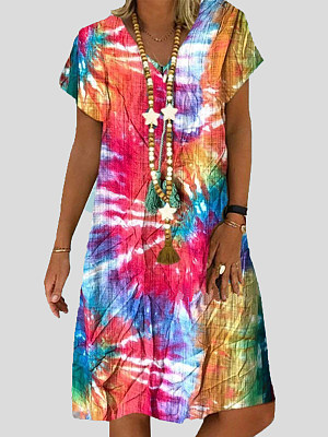 V-Neck Printed Shift Dress фото