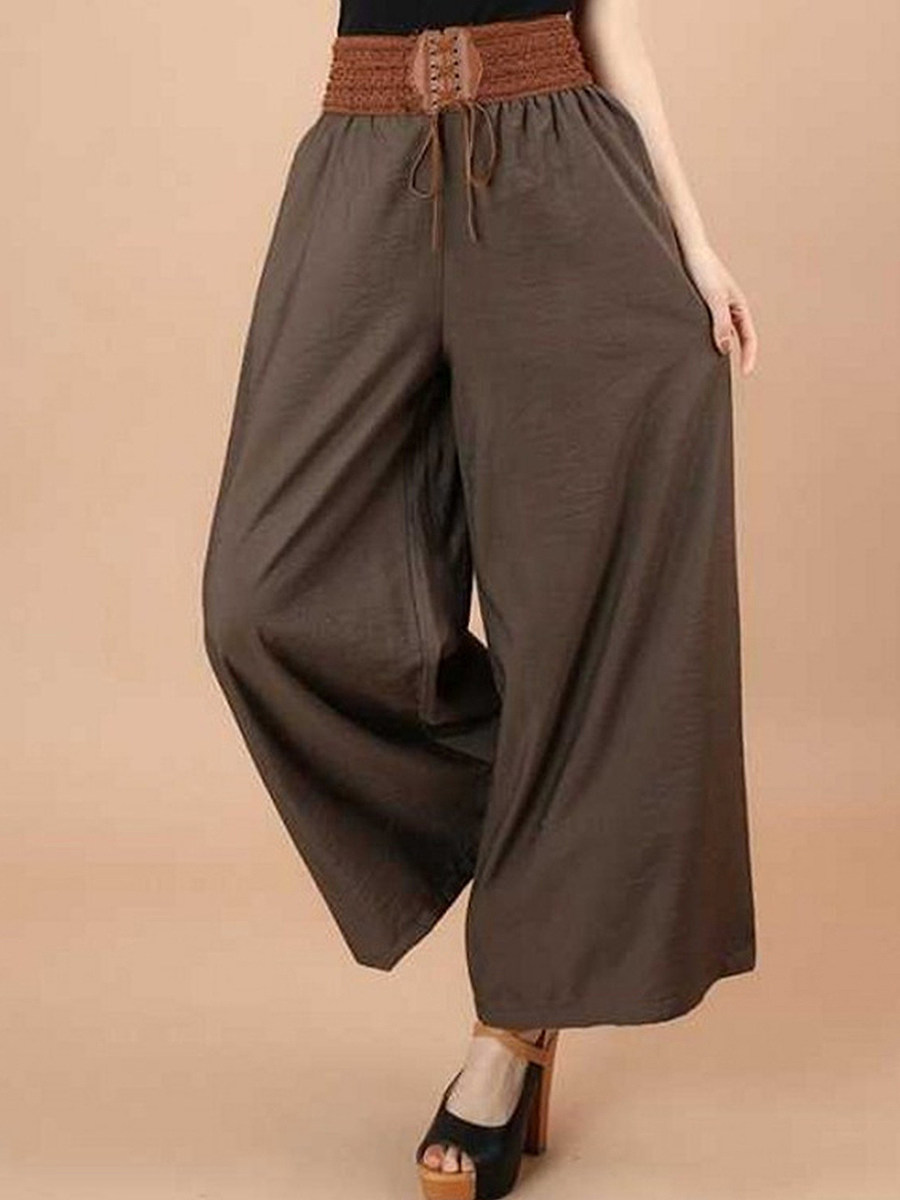 BerryLook Summer thin cotton and linen casual loose wide leg pants