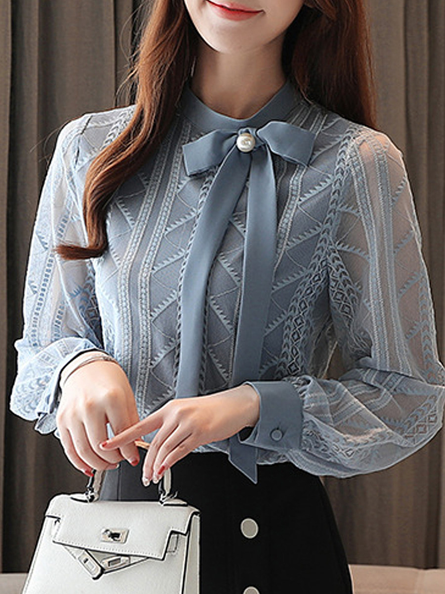 Band Collar Elegant Lace Long Sleeve Blouse