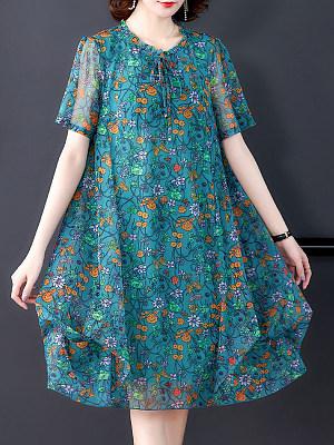 Floral Loose Short Sleeve Chiffon Dress