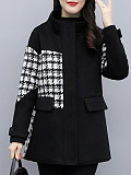 Image of Houndstooth Stitching Black Woolen Coat