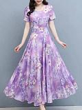 Ice silk mid-length dress
