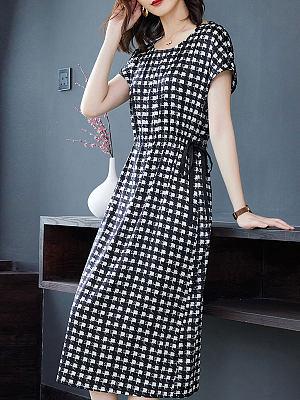 Berrylook Round Neck Short Sleeve Check Print Shift Dress online shop, online sale, long black dress, floral dresses