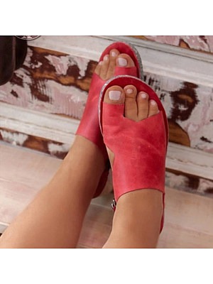 Europe and the United States solid color women toe sandals фото