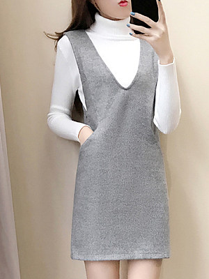 Fashion Woolen Strap Dress Two-Piece Shift Dress, 10654887