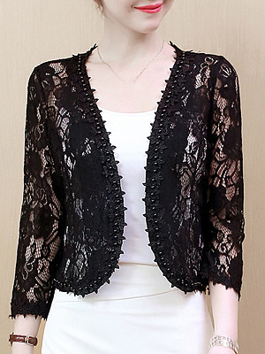 See-Through Floral Plain Beading Long Sleeve Cardigan, 11068262