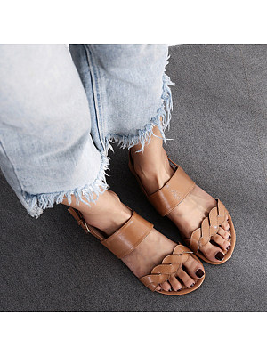 Women's Casual Solid Color Buckle Flat Sandals, 10681661