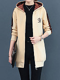 Image of New autumn and winter plus velvet thick hooded mid-length sweater coat